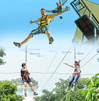 싱가포르 메가 짚 + 점프 + 클라임 + 바운스 탑승권 (각각1회 이용)