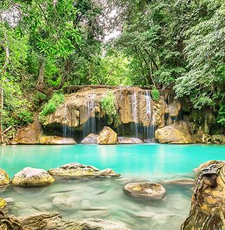 방콕 단독택시 에라완 국립공원 + 록밸리 허브온천 1일 투어 (픽업/샌딩 포함)